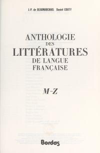 Anthologie des littératures...