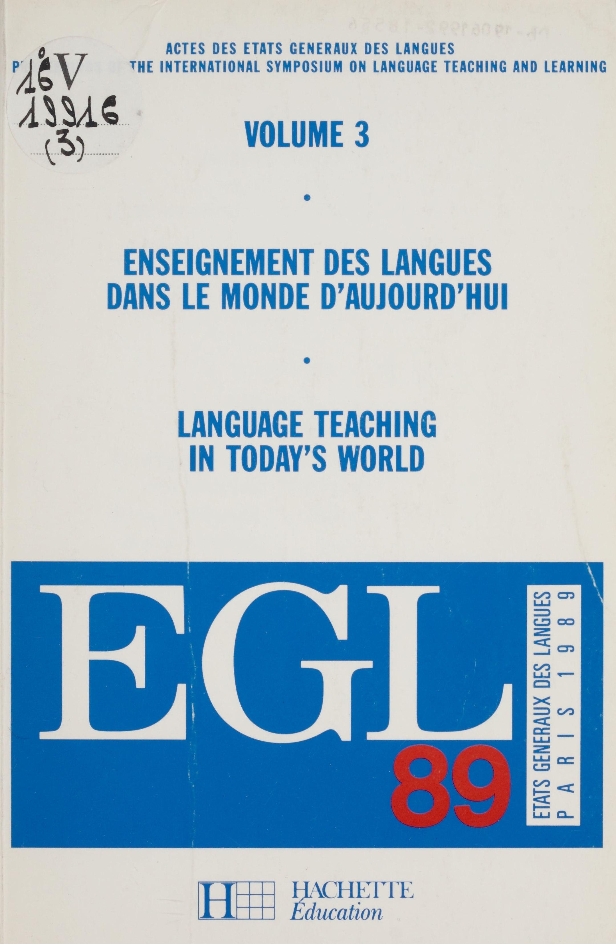 Enseignement des langues dans le monde d'aujourd'hui (3)