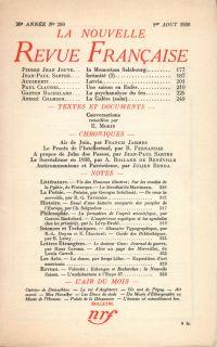 La Nouvelle Revue Française N° 299 (Aoűt 1938)