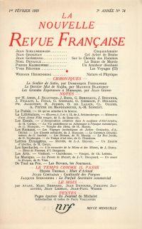 La Nouvelle Revue Française N' 74 (Février 1959)