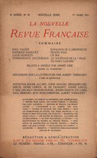La Nouvelle Revue Française N' 90 (Mars 1921)