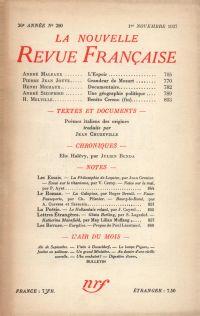 La Nouvelle Revue Française N° 290 (Novembre 1937)