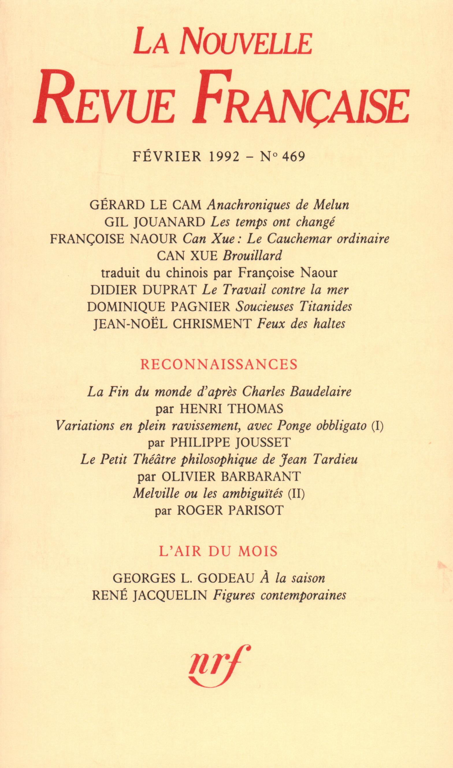 La Nouvelle Revue Française N° 469