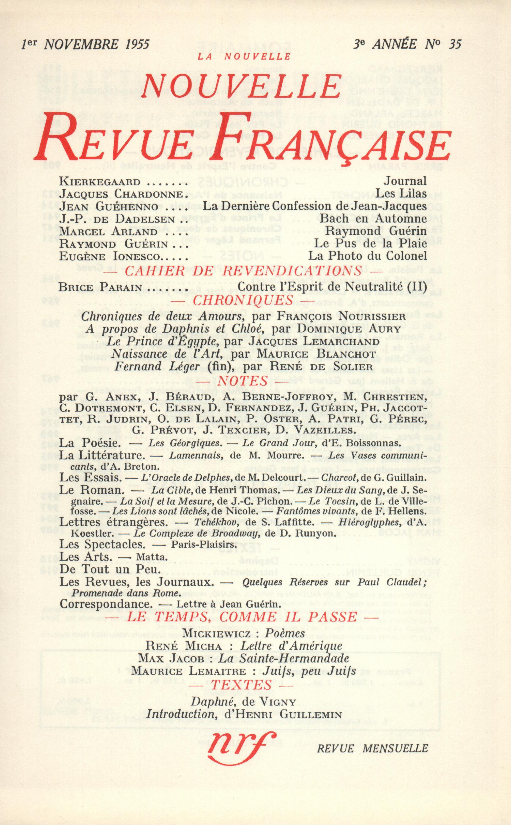 La Nouvelle Nouvelle Revue Française N' 35 (Novembre 1955)