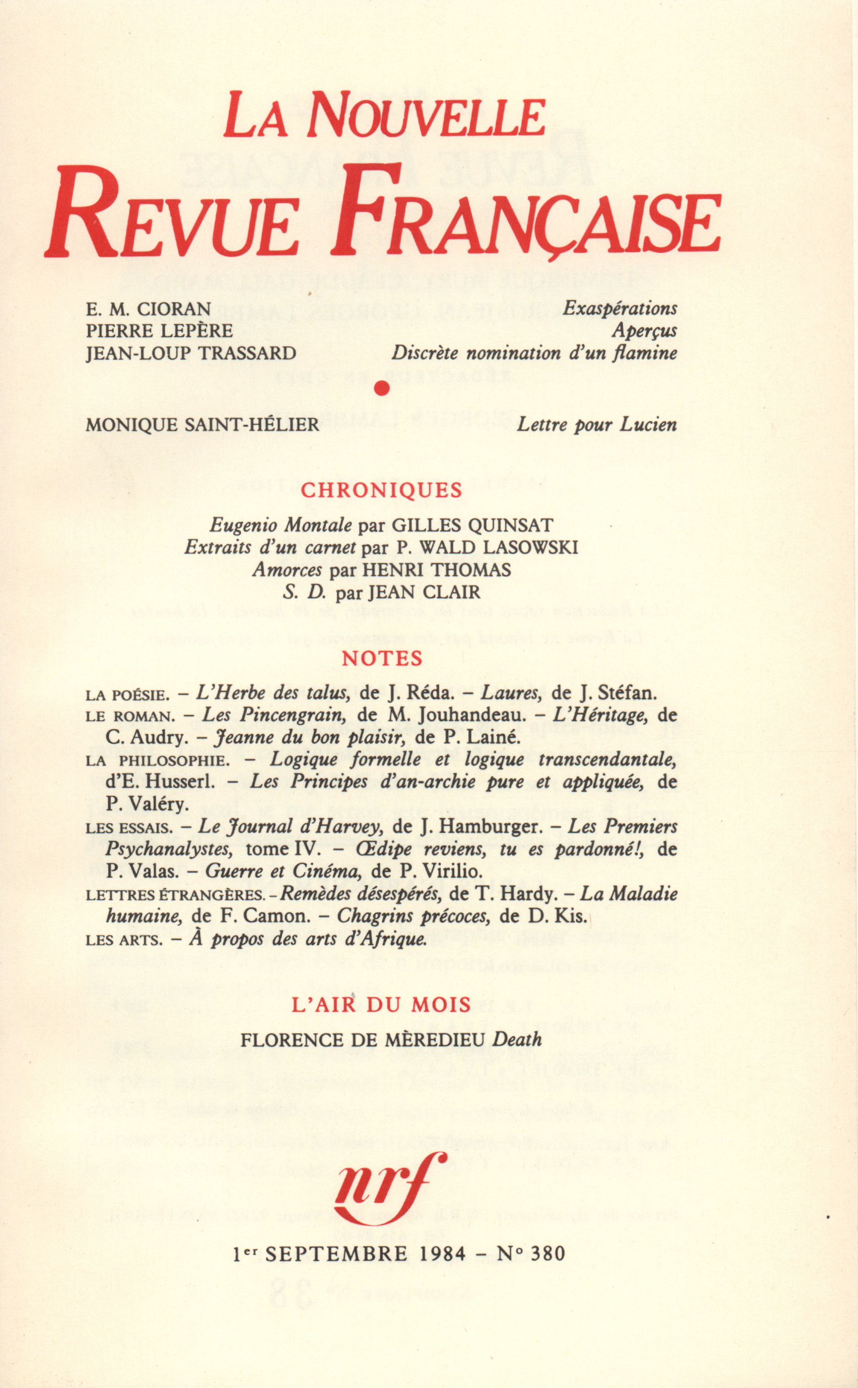 La Nouvelle Revue Française N° 380