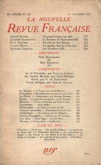 La Nouvelle Revue Française N° 293 (Février 1938)