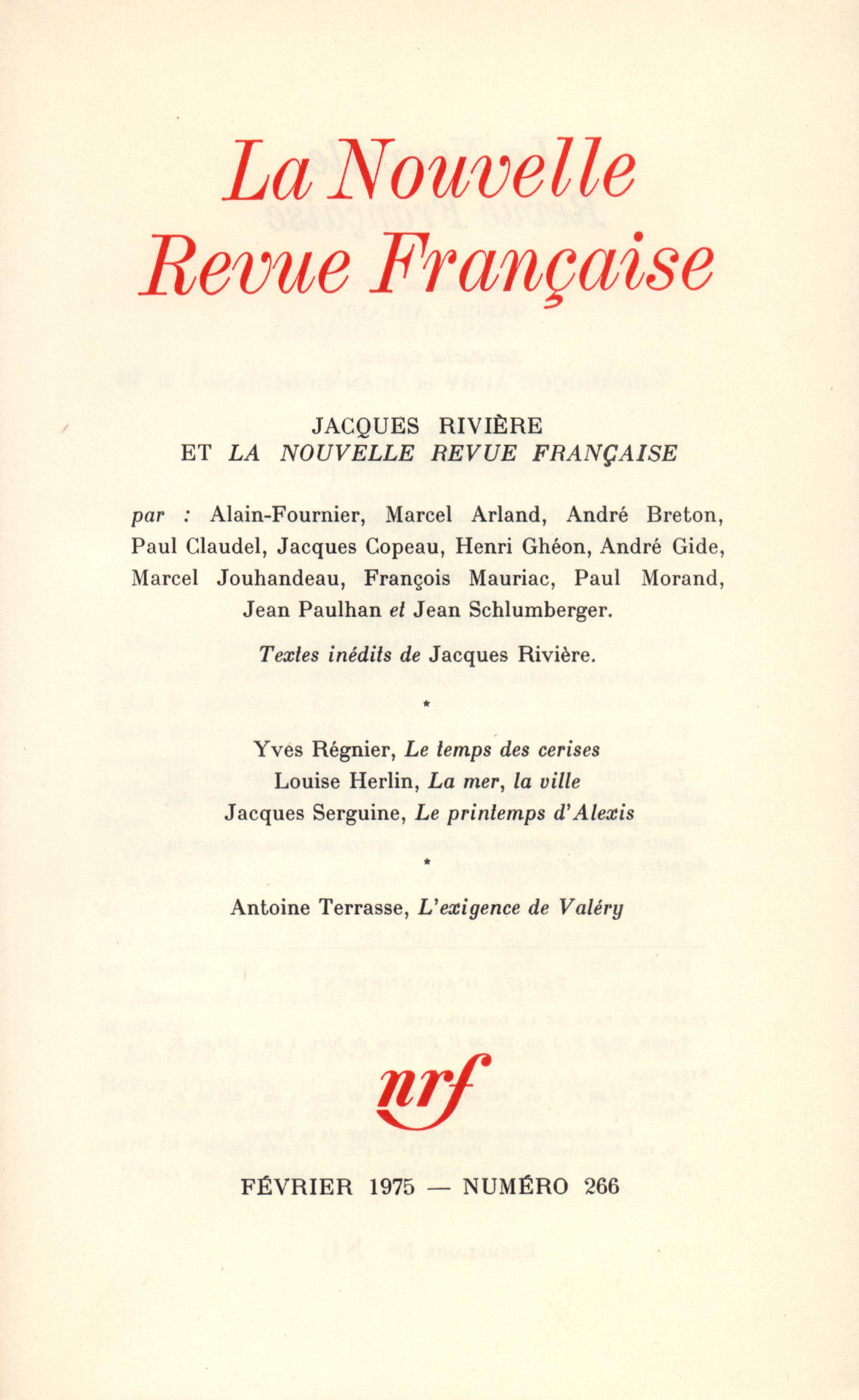 La Nouvelle Revue Française N° 266