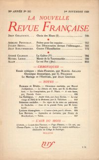 La Nouvelle Revue Française N' 302 (Novembre 1938)