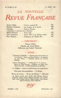 La Nouvelle Revue Française N' 199 (Avril 1930)