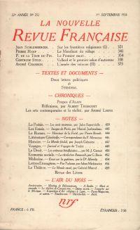 La Nouvelle Revue Française N° 252 (Septembre 1934)