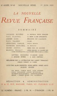 La Nouvelle Revue Française N' 69 (Juin 1919)