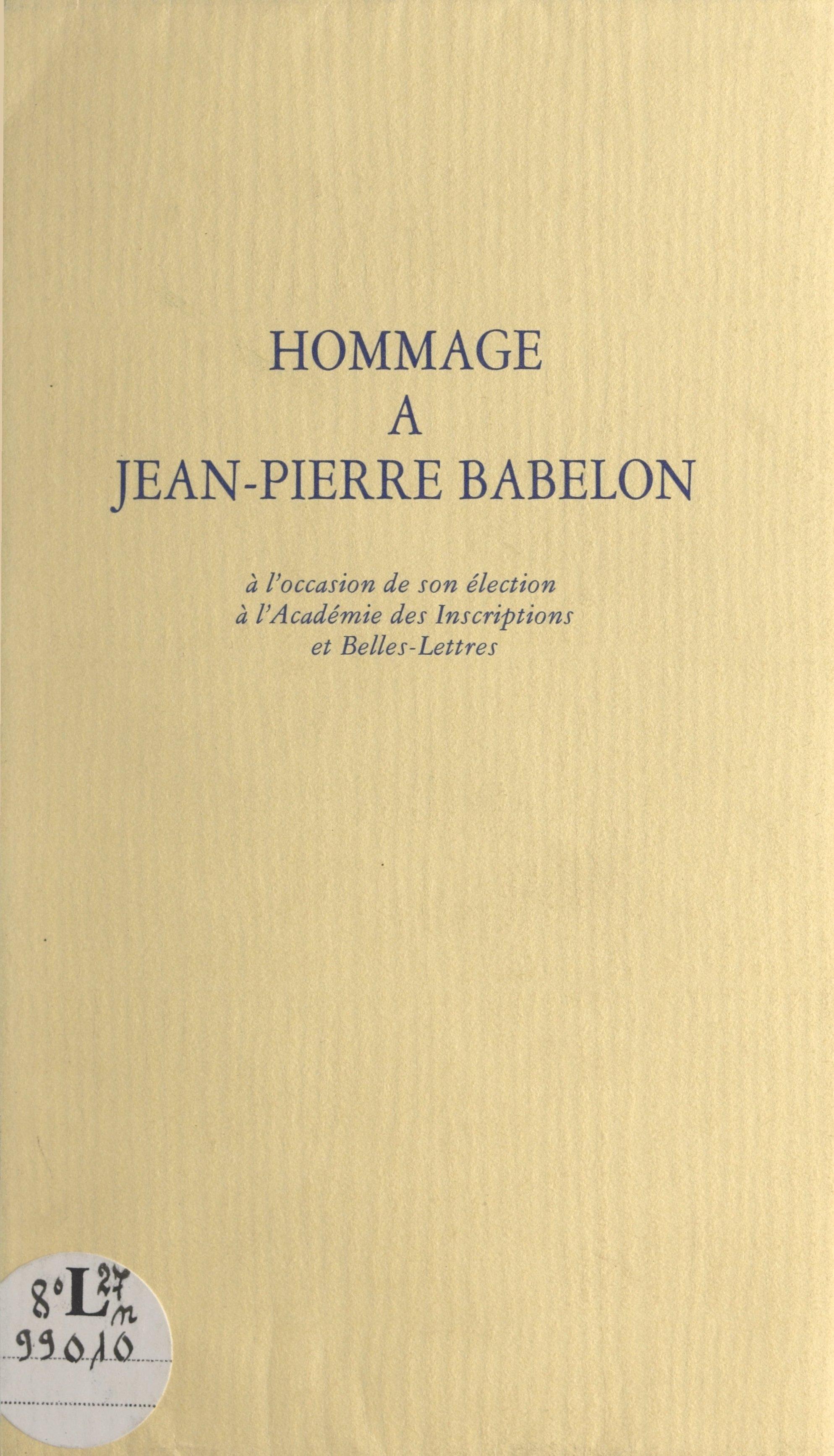Hommage à Jean-Pierre Babel...