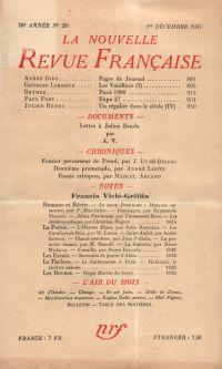 La Nouvelle Revue Française N° 291 (Décembre 1937)