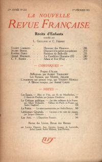 La Nouvelle Revue Française N° 233 (Février 1933)