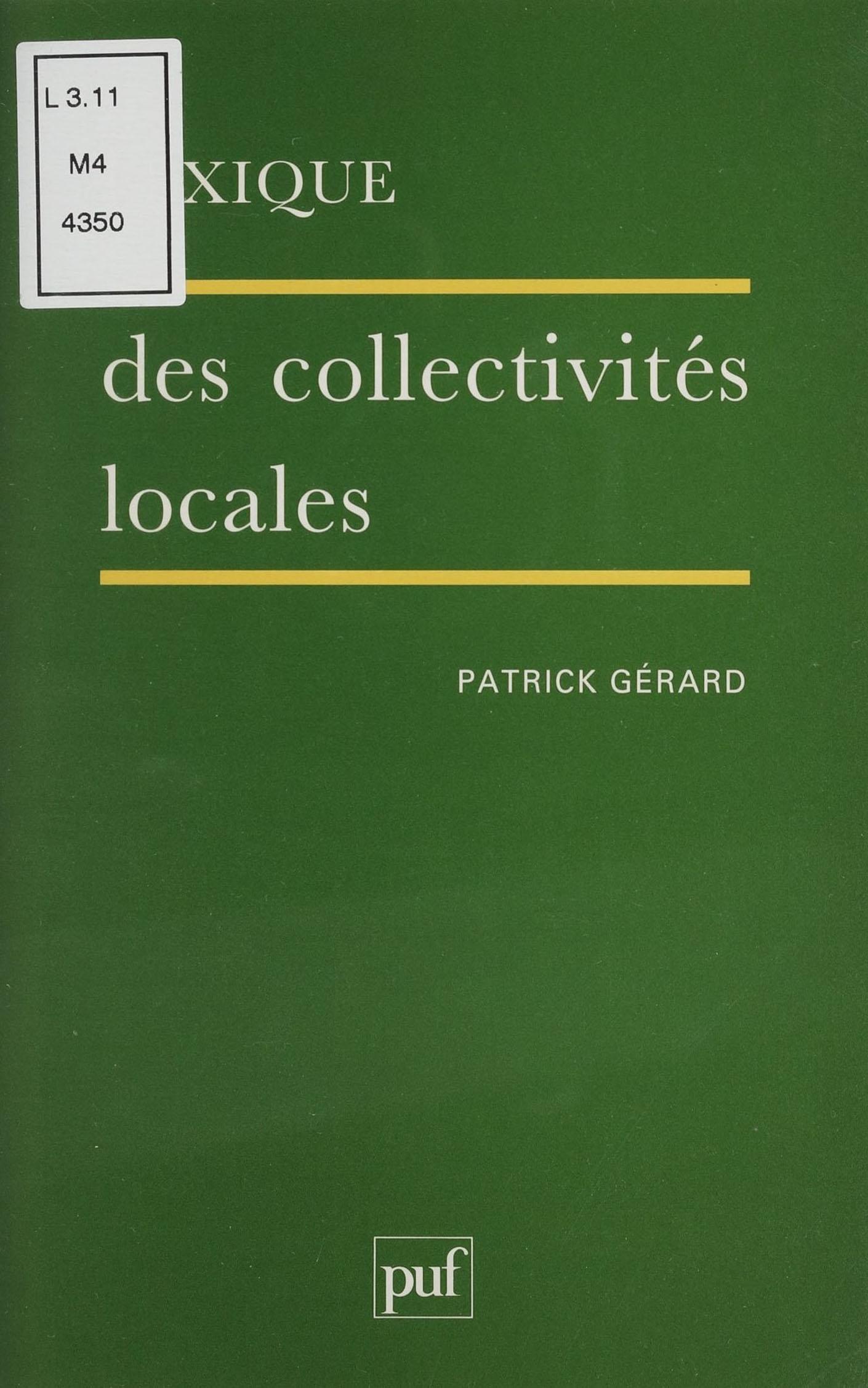 Lexique des collectivités locales