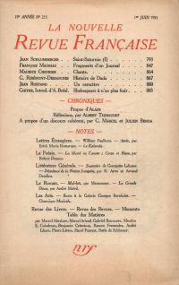 La Nouvelle Revue Française N' 213 (Juin 1931)
