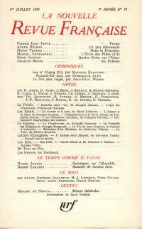 La Nouvelle Revue Française N' 79 (Juillet 1959)