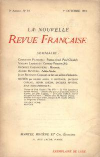 La Nouvelle Revue Française N' 34 (Octobre 1911)
