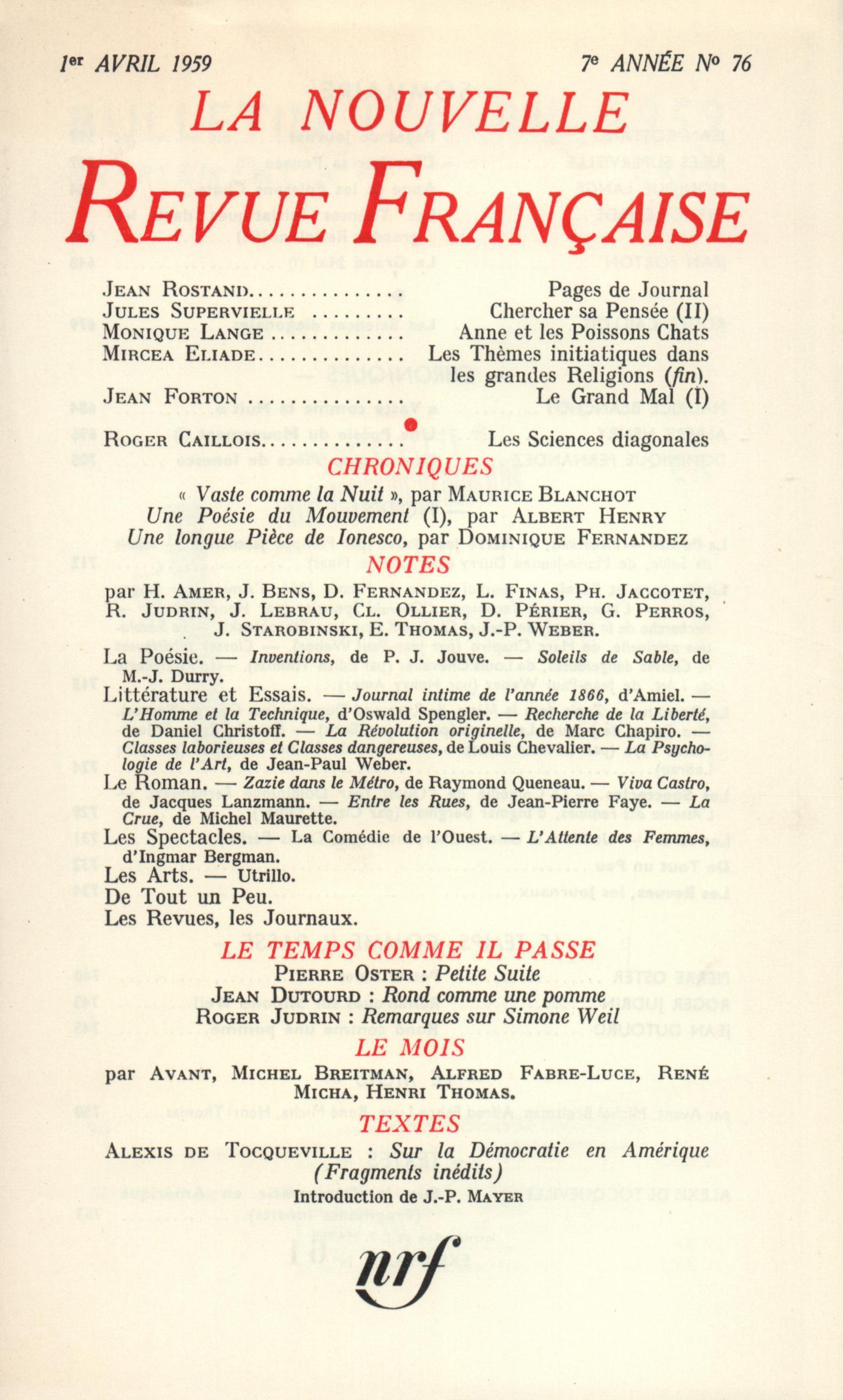 La Nouvelle Revue Française N' 76 (Avril 1959)