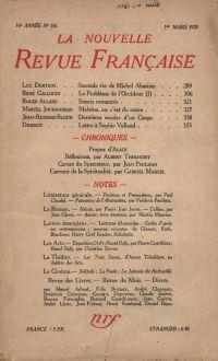 La Nouvelle Revue Française N' 186 (Mars 1929)