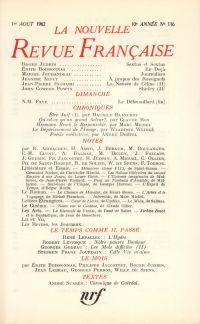 La Nouvelle Revue Française N' 116 (Aoűt 1962)
