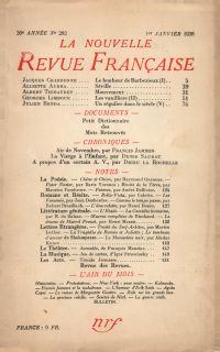 La Nouvelle Revue Française N° 292 (Janvier 1938)