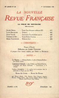 La Nouvelle Revue Française N' 206 (Novembre 1930)