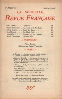 La Nouvelle Revue Française N' 204 (Septembre 1930)