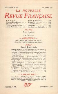 La Nouvelle Revue Française N° 282 (Mars 1937)