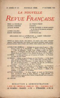 La Nouvelle Revue Française N' 133 (Octobre 1924)