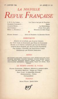 La Nouvelle Revue Française N' 157 (Janvier 1966)