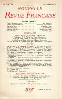 La Nouvelle Nouvelle Revue Française N' 51 (Mars 1957)