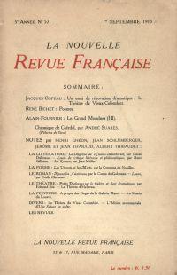 La Nouvelle Revue Française N' 57 (Septembre 1913)