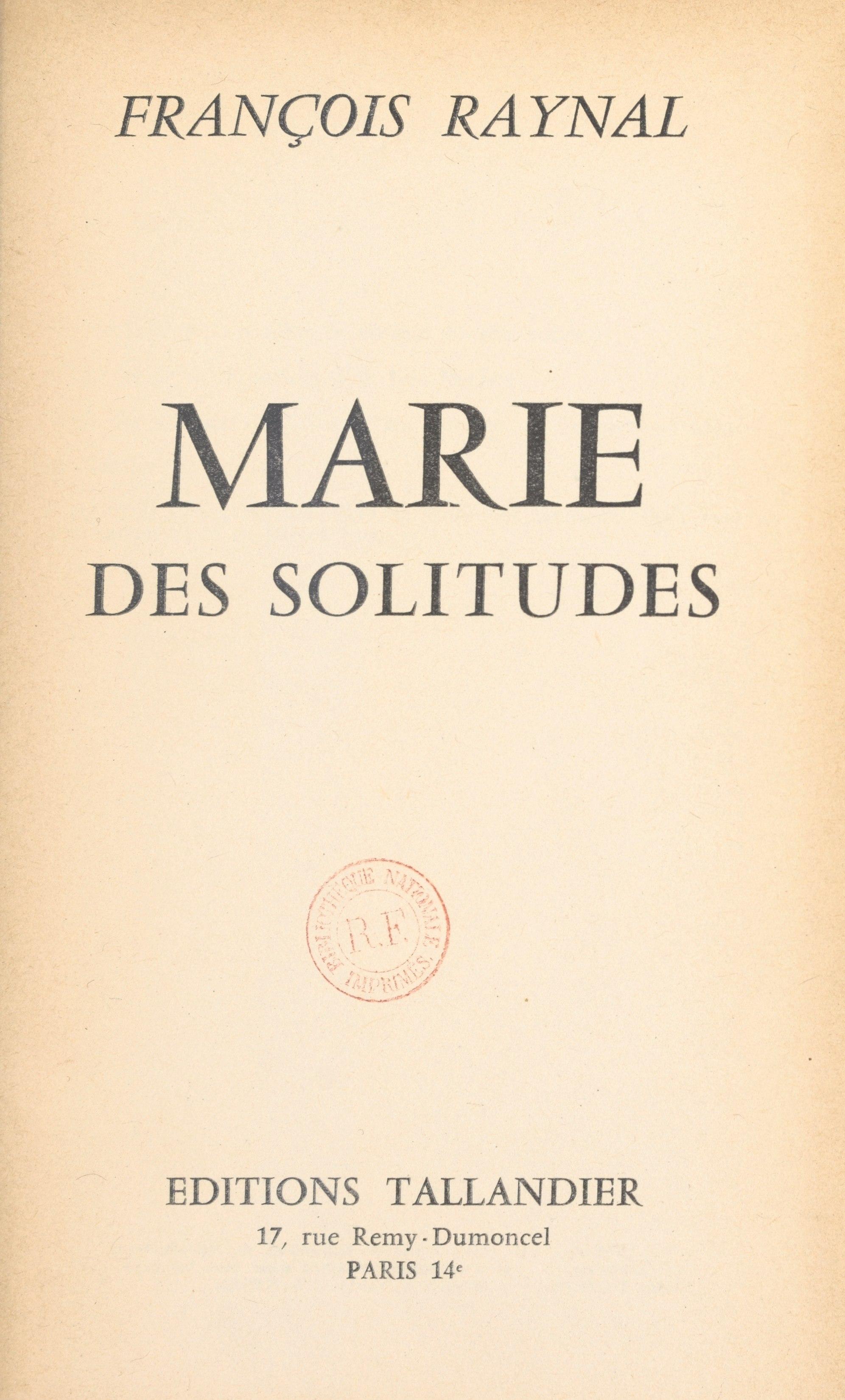 Marie des solitudes