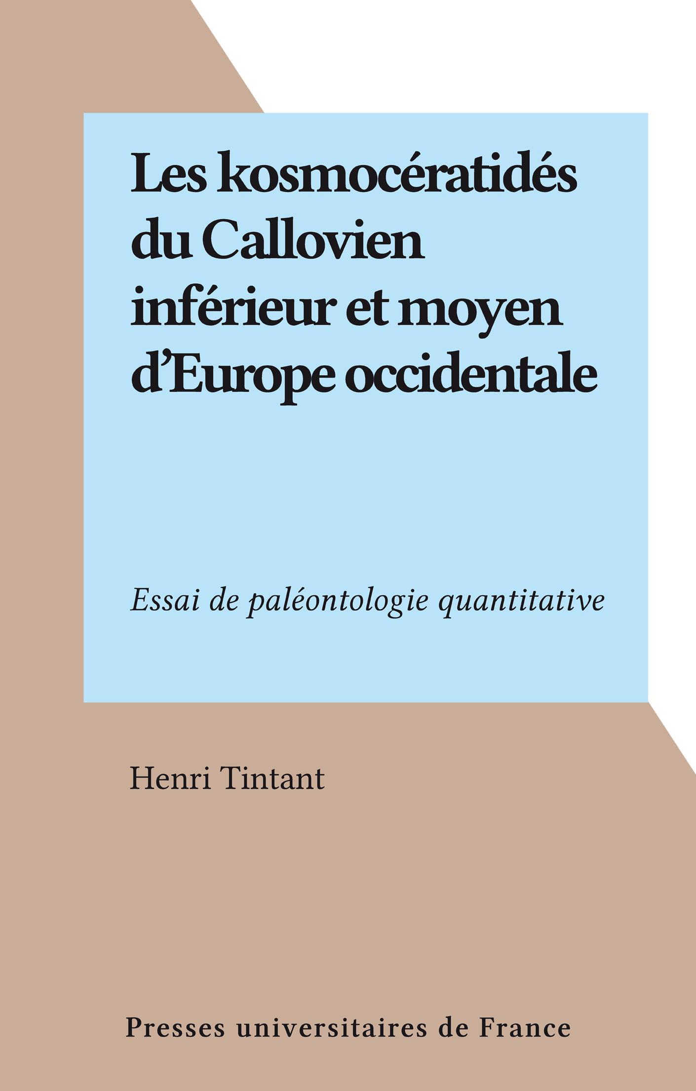 Les kosmocératidés du Callovien inférieur et moyen d'Europe occidentale, ESSAI DE PALÉONTOLOGIE QUANTITATIVE