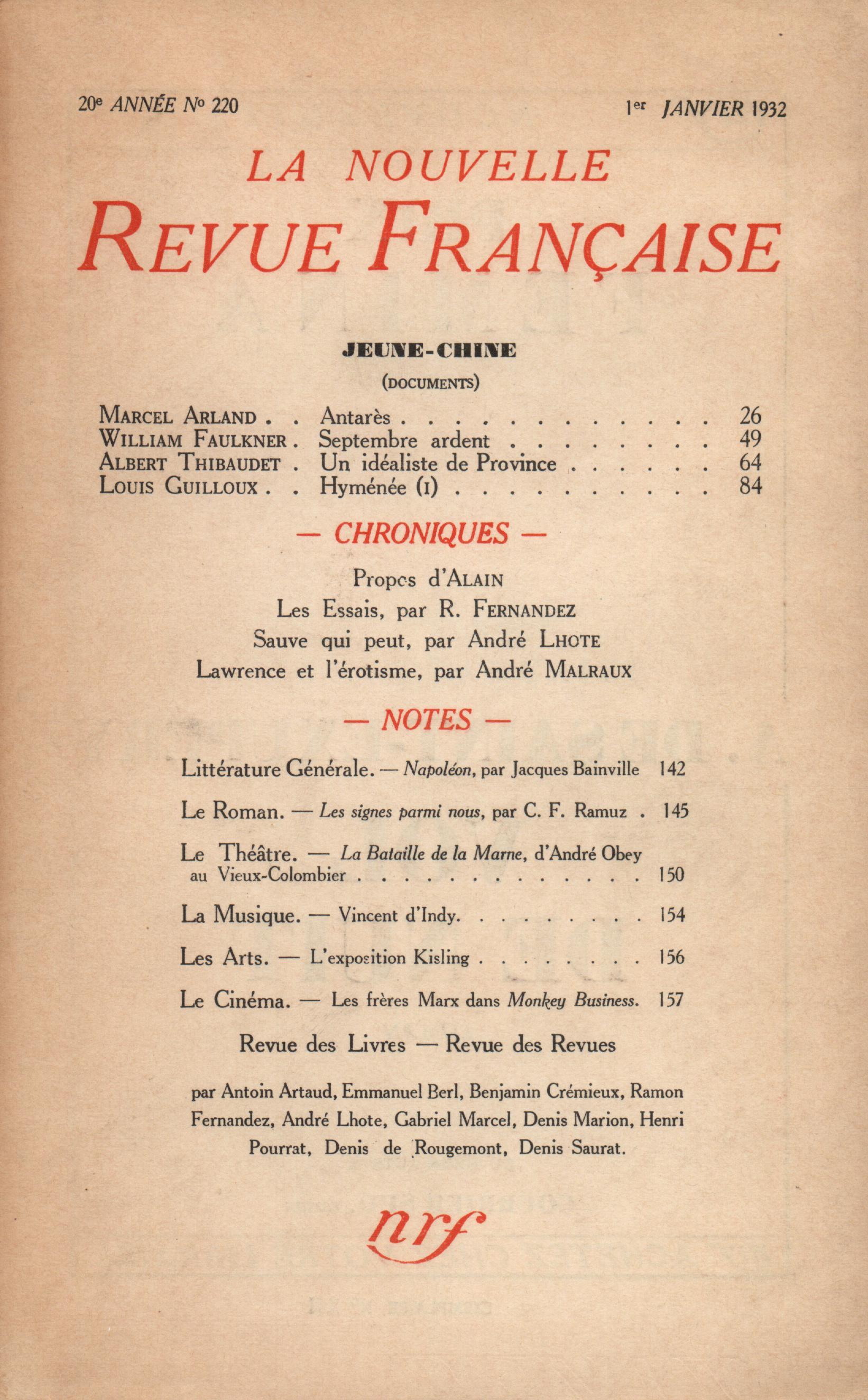 La Nouvelle Revue Française...