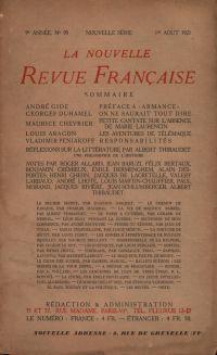 La Nouvelle Revue Française N' 95 (Aoűt 1921)