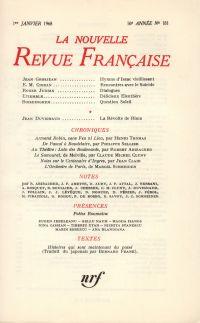 La Nouvelle Revue Française N' 181 (Janvier 1968)