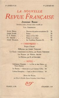 La Nouvelle Revue Française N° 232 (Janvier 1933)