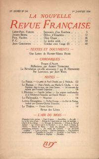La Nouvelle Revue Française N° 244 (Janvier 1934)