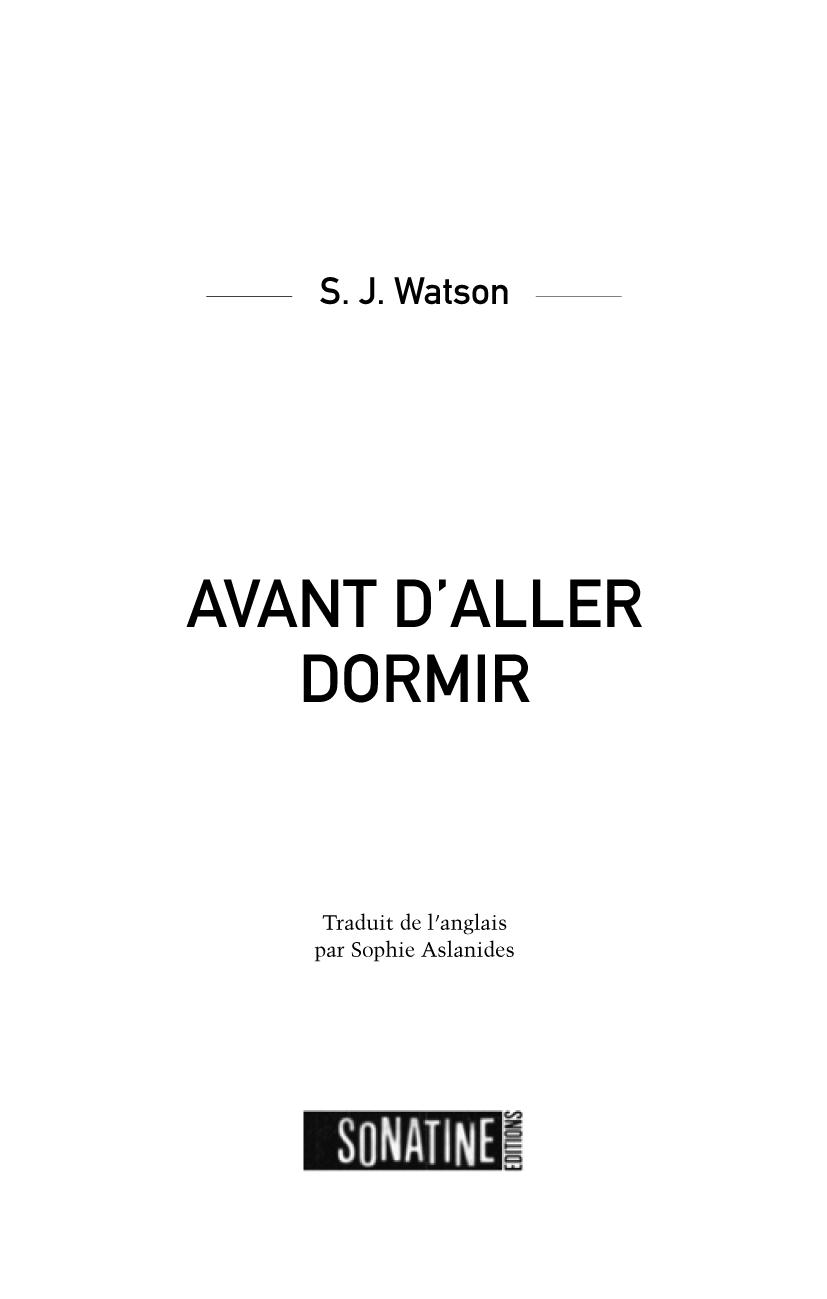 Avant d'aller dormir | WATSON, S. J.