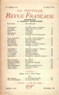 Hommage ŕ Albert Thibaudet N° 274 (Juillet 1936)