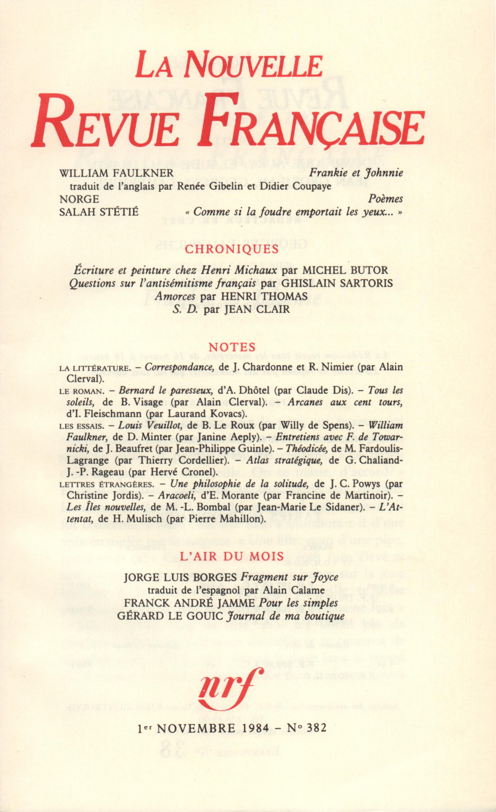 La Nouvelle Revue Française N° 382