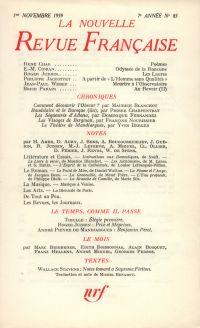 La Nouvelle Revue Française N' 83 (Novembre 1959)