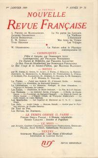 La Nouvelle Nouvelle Revue Française N' 73 (Janvier 1959)