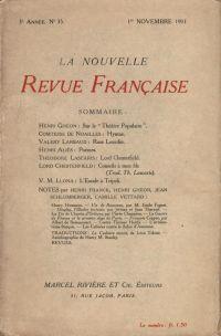 La Nouvelle Revue Française N' 35 (Novembre 1911)
