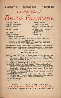 La Nouvelle Revue Française N' 125 (Février 1924)