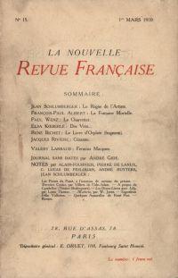 La Nouvelle Revue Française N' 15 (Mars 1910)