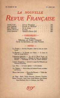 La Nouvelle Revue Française N' 189 (Juin 1929)