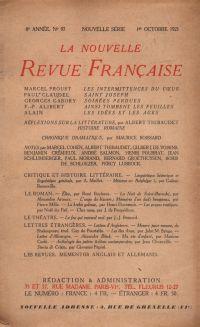 La Nouvelle Revue Française N' 97 (Octobre 1921)